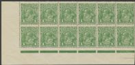 SG 83d ACSC 79(4)ia., 79(4)j. KGV Head 1d Sage-Green, 'RA' joined part imprint block 12 (AHSMP/274)